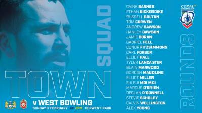 21 MAN SQUAD V WEST BOWLING, CORAL CHALLENGE CUP ROUND 3